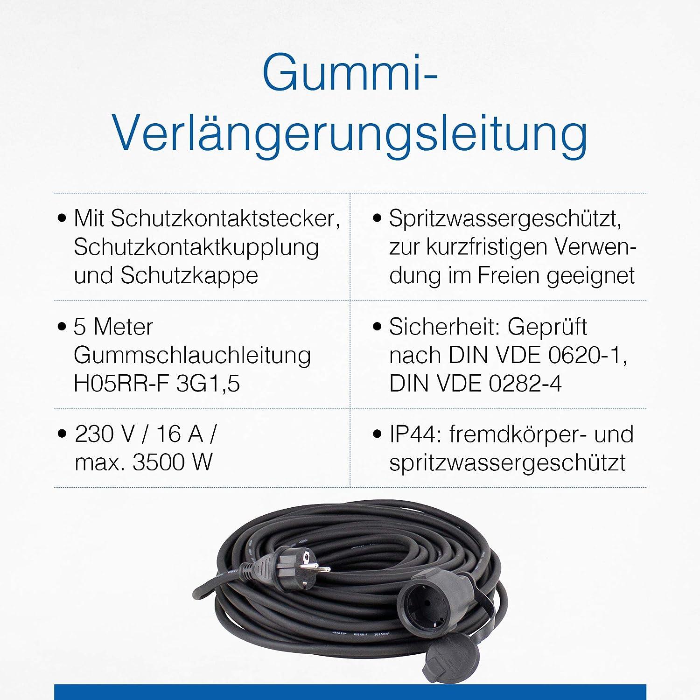 As Schwabe Gummi Verlängerungsleitung 5 M Kabel Mit Schutzkontaktstecker Und Schutzkontaktkupplung Inkl Schutzkappe 230 V 16 A Verlängerungskabel Ip44 Schwarz I 60305 Baumarkt