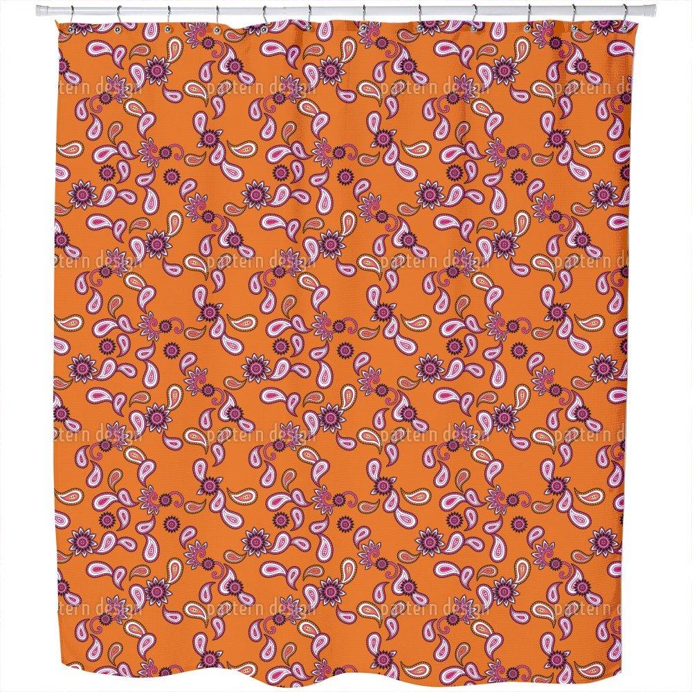 Uneekee Orange Paisley Shower Curtain: Large Waterproof Luxurious Bathroom Design Woven Fabric