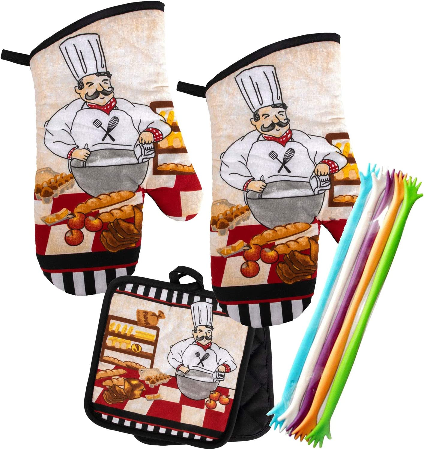 Italian Chef Pot Holders Chef Theme Kitchen Decor Chef design on front and black back. Thick Hot Pads