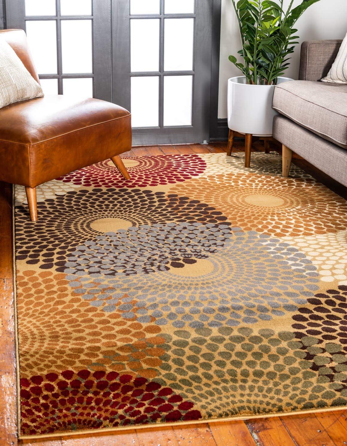 Unique Loom Barista Collection Modern Circular Contemporary Beige Area Rug 8 0 x 10 0