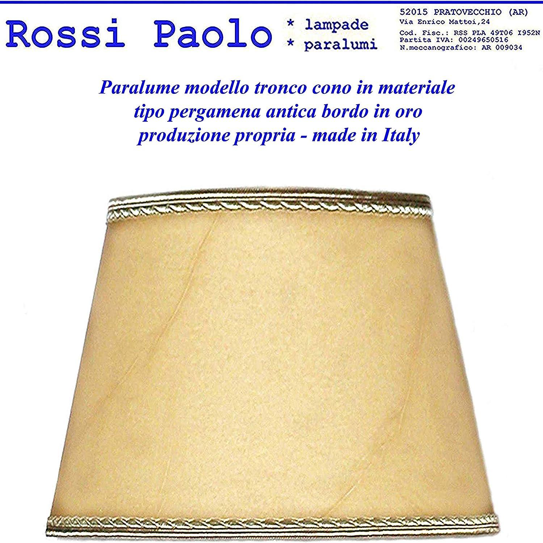 Paralume classico paraluce modello tronco cono in finta pergamena antica bordo in oro produzione propria made in Italy (cm 25)