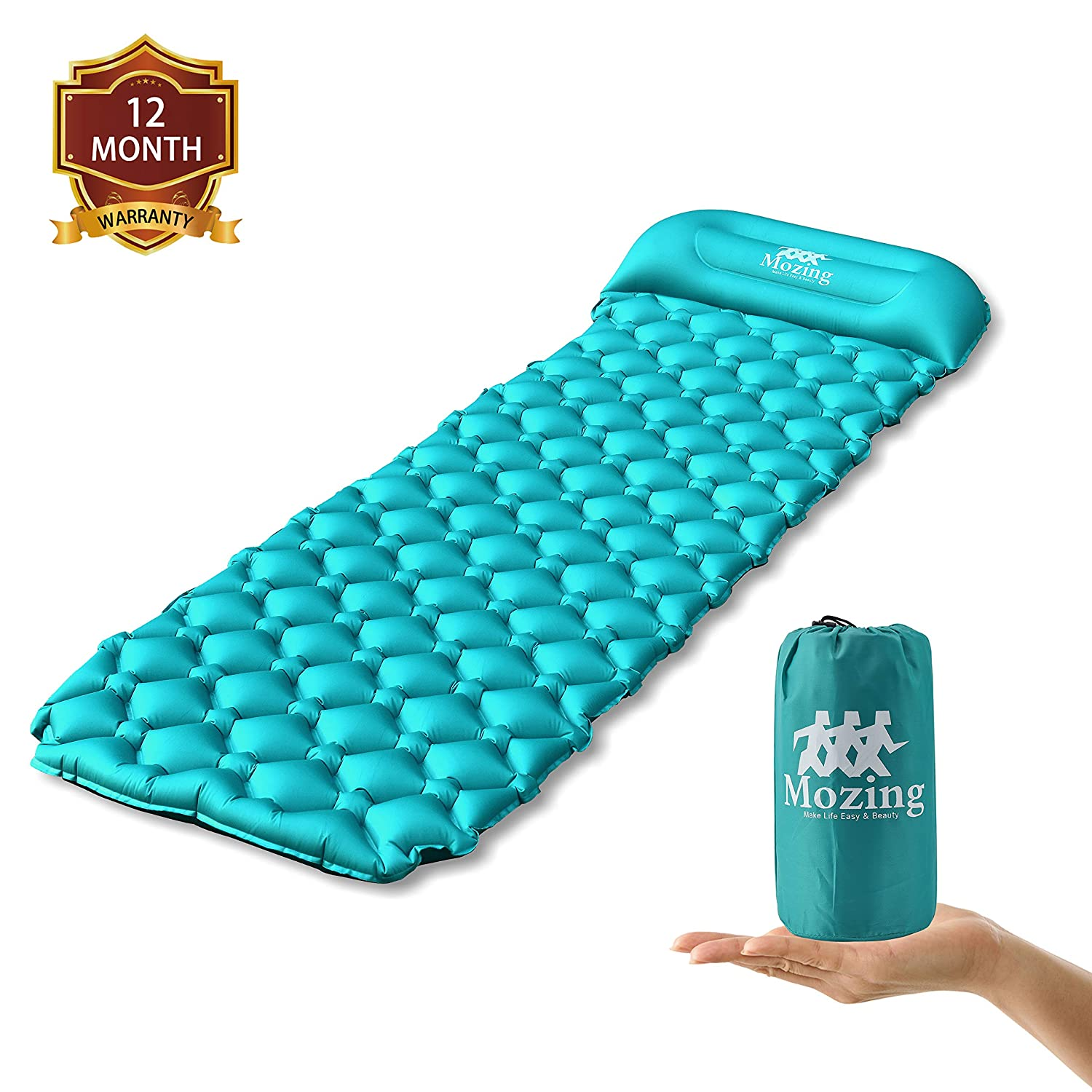Peacock Blue Ultralight Sleeping Mats Camping Pad Inflatable Lightweight Air Pads for Hiking Backpacking Traveling and Outdoor Mozing Camping Sleeping Pad Self Inflating with Attached Pillow