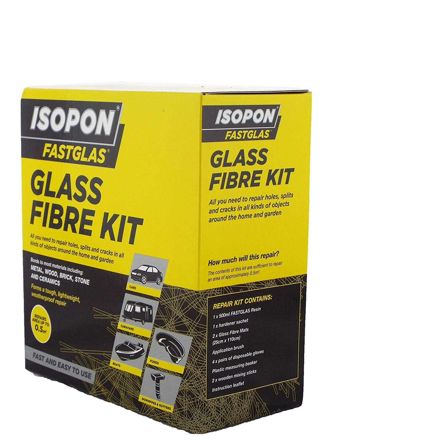 U-pol Isopon Fastglas Large Glass Fibre Kit Include Mixing Cup & Protective Gloves Create/Construct/Repair GRP Fast Curing