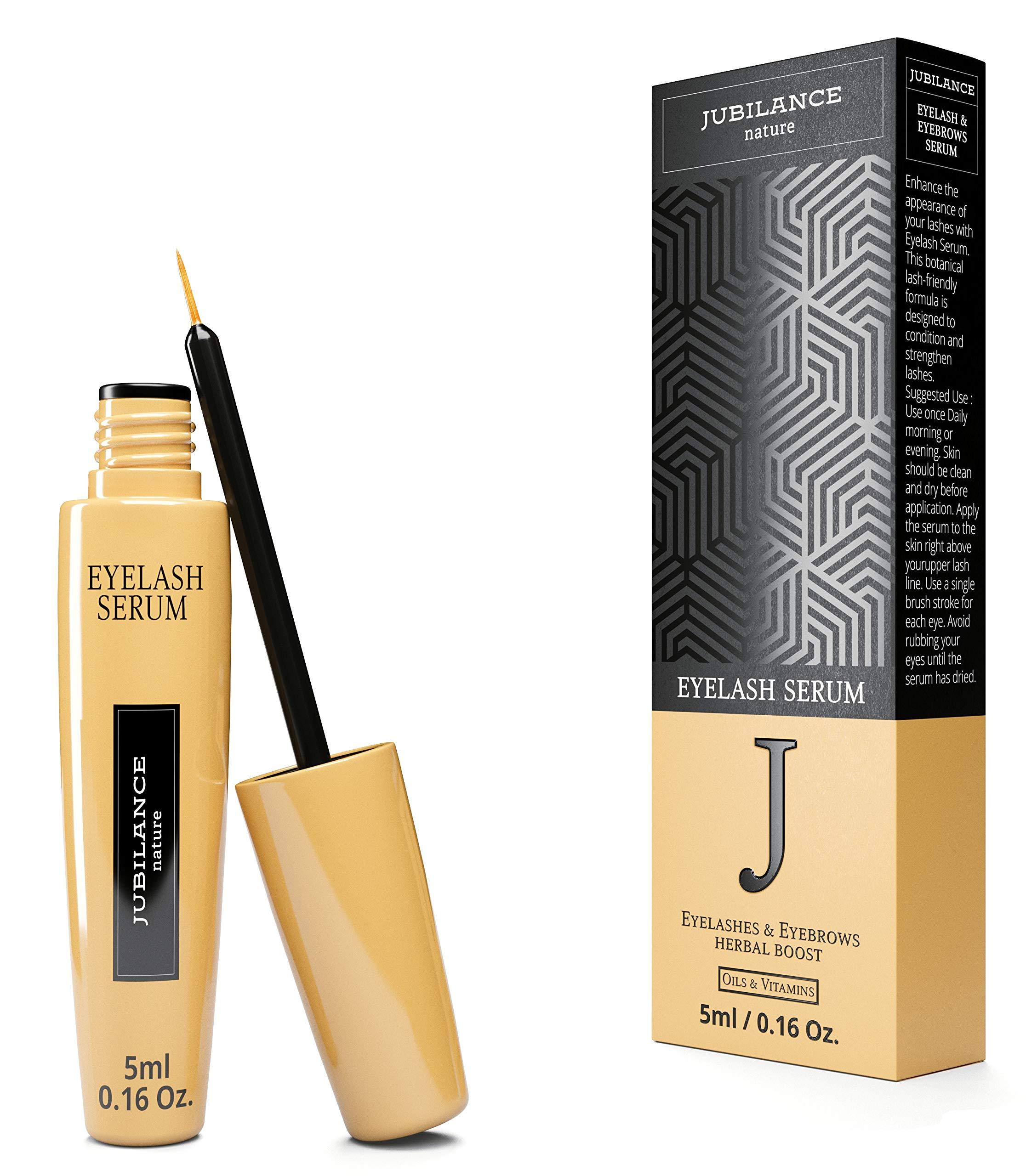 Eyelash & Eyebrows Extension Serum-5ml botanical formula by Jubilance Eyelashes & Eyebrows herbal boost a mix of oils and vitamins. Best natural lash regeneration. Dermatologic Lab tested.