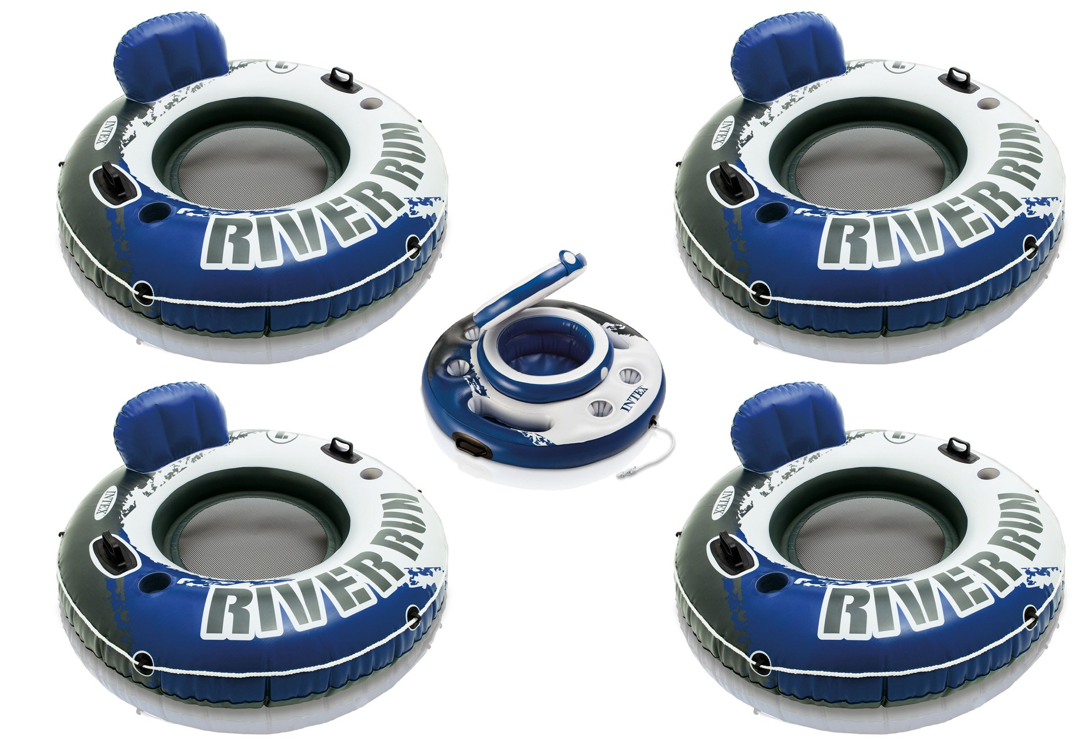 Intex River Run I Inflatable Floating Tube Raft (4-Pack) with Mega Chill Cooler