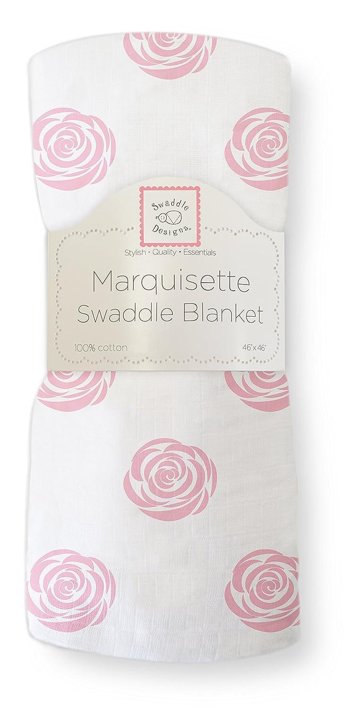 SwaddleDesigns Marquisette Swaddling Blanket, Premium Cotton Muslin, Fleur de Lis, Blue SD-495B
