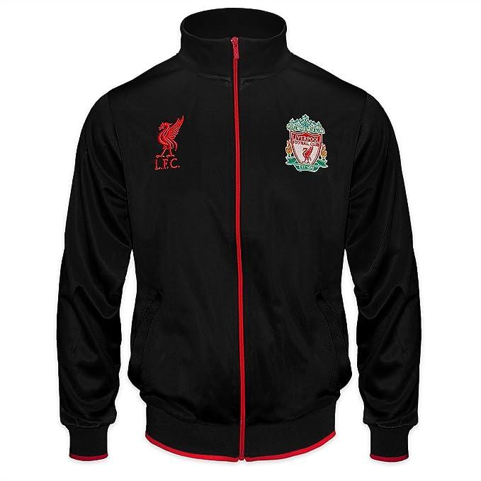 Liverpool FC - Chaqueta de Entrenamiento Oficial - para niño - Estilo Retro - Negro -