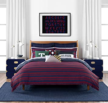 Tommy Hilfiger Heritage Stripe Bedding Collection Comforter Set, Twin,  Navy/Red