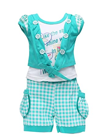 ec8b2945 GOLDEN GIRL Girl's Cotton Top and Shorts Set: Amazon.in: Clothing ...