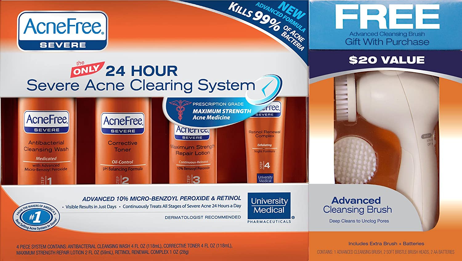 AcneFree 24-Hour Severe Acne Clearing System with Advanced Cleansing Brush POLYHYMNIA Women Ageless Face Lift Firming Pure Hyaluronic Acid Anti Wrinkle Skin Care Essential Oil