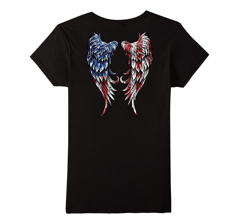 Distressed American Flag Angel Wings T-Shirt