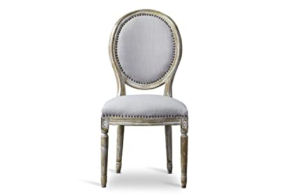 Ordinaire Baxton Studio Clairette Beige Linen French Style Natural Oak Wood Accent  Chair, Oval Back