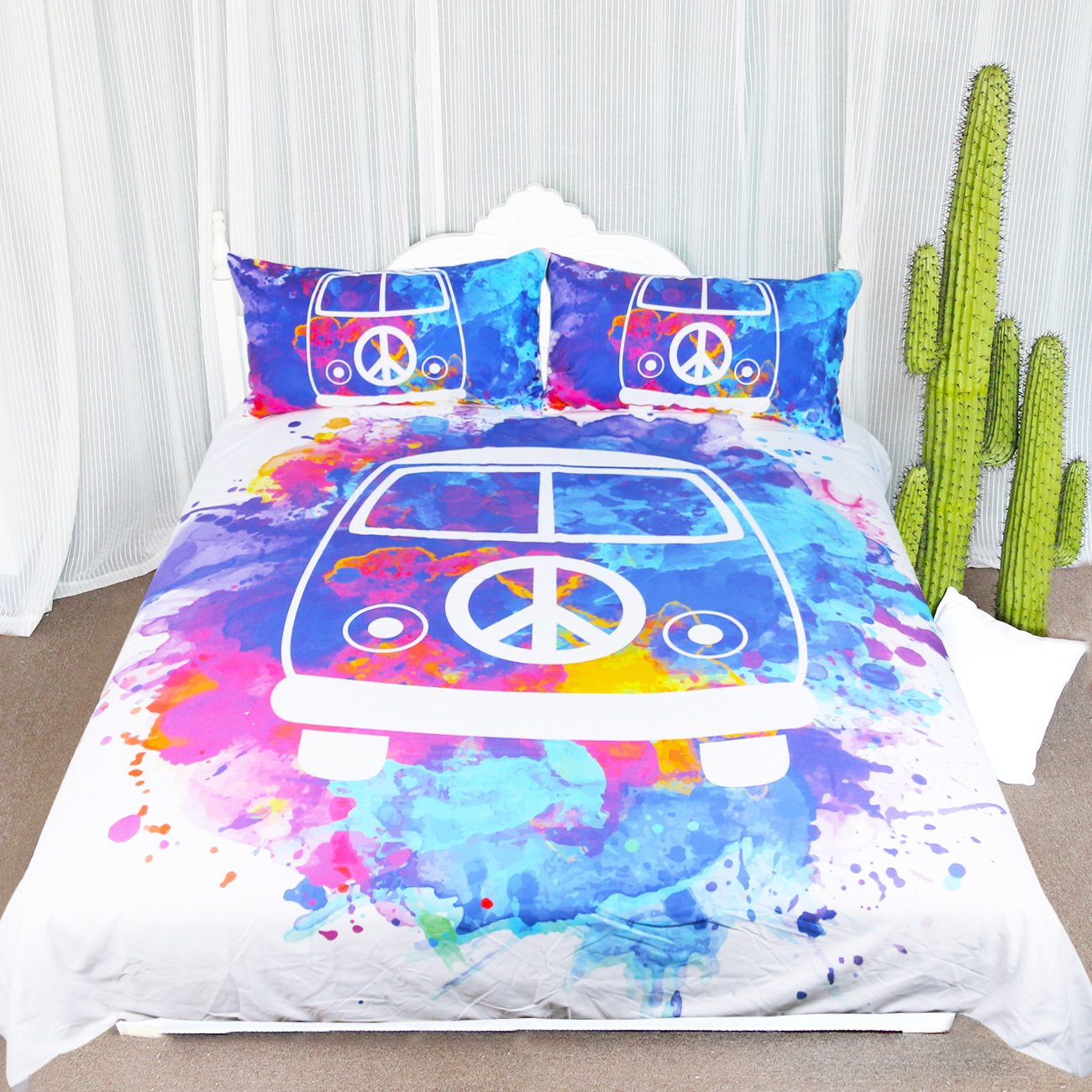 ARIGHTEX Hippie Bus Bedding Purple Blue Watercolor Paint Boho Duvet Cover Psychedelic Love Bedding Sets Teen Bedspreads (Queen)