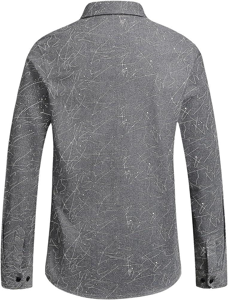 SSLR Camisa Hombre Manga Larga Slim de Franela a Lunares (Small, Gris): Amazon.es: Ropa y accesorios