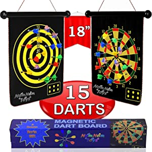 "NOMNOM TOYS, Magnetic Dart Board for Kids, 15 pcs Magnetic Darts, 18"" Double Sided Board Game Set, Safe Indoor Outdoor Family Game, Best Toy Gift for 5 6 7 8 9 10 11 12 13 14 Years Old Boys"