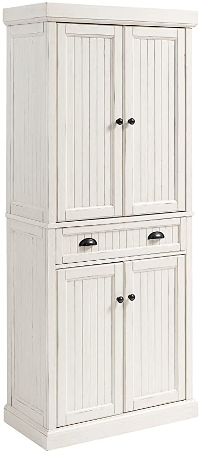 Crosley Furniture Seaside Kitchen Pantry Cabinet Distressed White