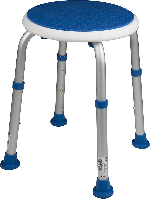 PCP Padded Round Non-Slip Bath Safety Stool, White/Blue