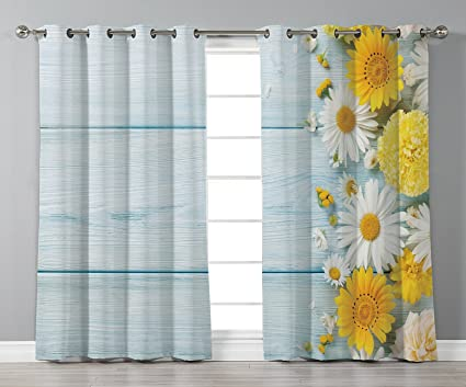 Amazon stylish window curtainsyellow flowerseasonal garden stylish window curtainsyellow flowerseasonal garden flowers on blue wooden planks rustic arrangement mightylinksfo