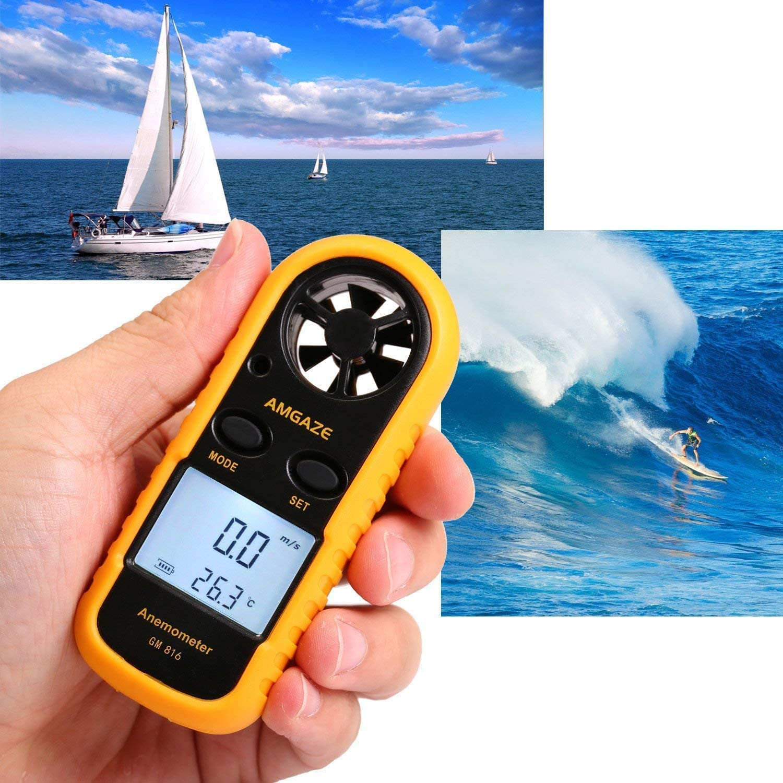 etc Cometa Port/átil Anem/ómetro Term/ómetro Digital de Pantalla LCD Medidor de Velocidad Viento Aire con para Vela Marina Surf Pescar
