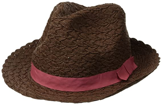 a008085affe Rampage Women's Braided Fedora with Contrast Ribbon, Brown/Pink, One Size