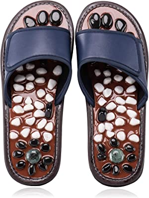 BYRIVER Stone Acupressure Foot Massage Slippers Sandals Reflexology Tools Health Shoes Relaxation Gifts for Men Women(Blue 25)