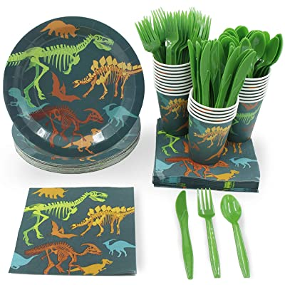 Disposable Dinnerware Set - Serves 24 - Dinosaur Themed Party Supplies for Kids Birthdays, Dino Fossil Skeleton Design, Includes Plastic Knives, Spoons, Forks, Paper Plates, Napkins, Cups: Toys & Games