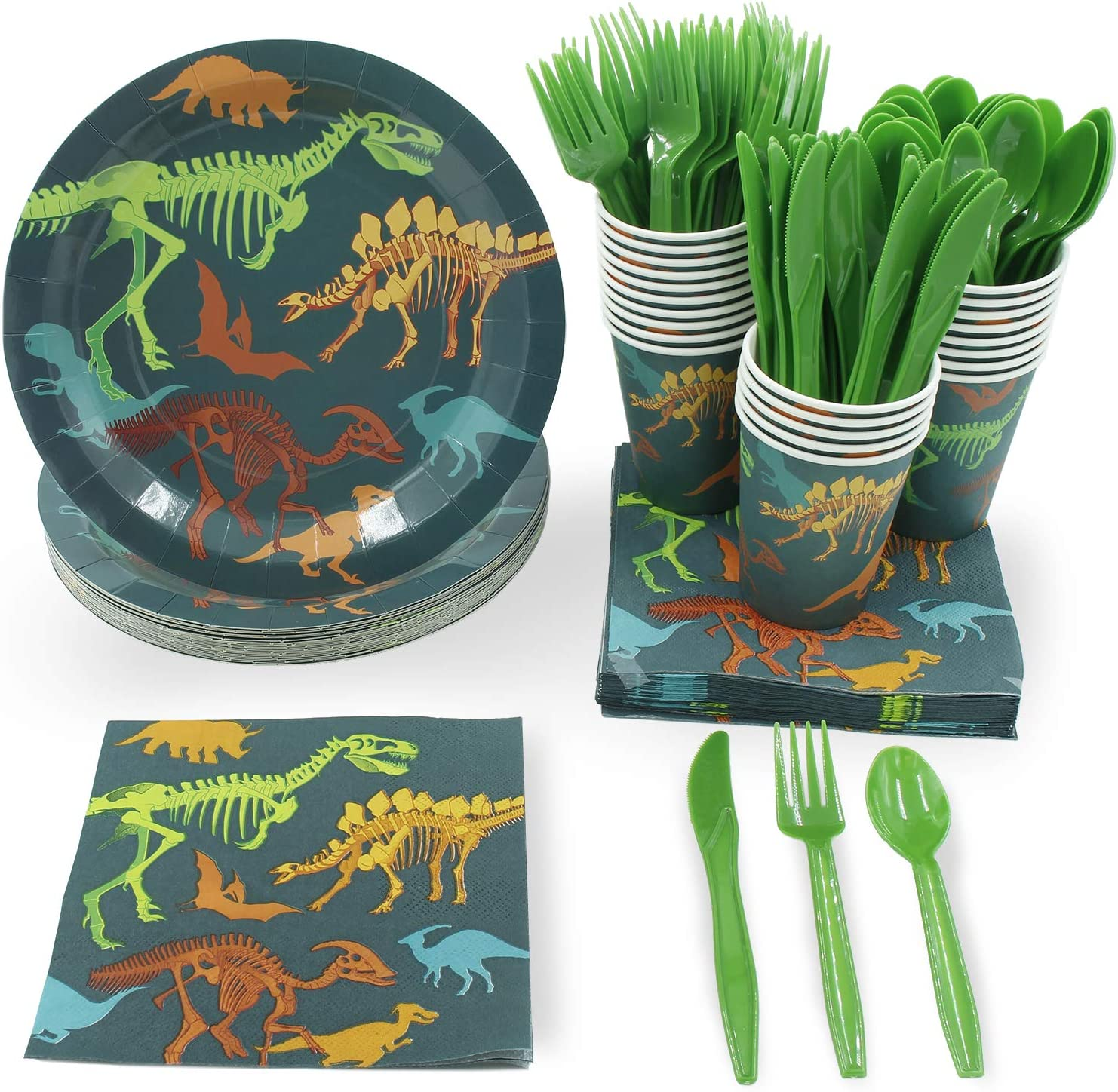 Dinosaur Party Bundle, Includes Plates, Napkins, Cups, and Cutlery (24 Guests,144 Pieces): Toys & Games