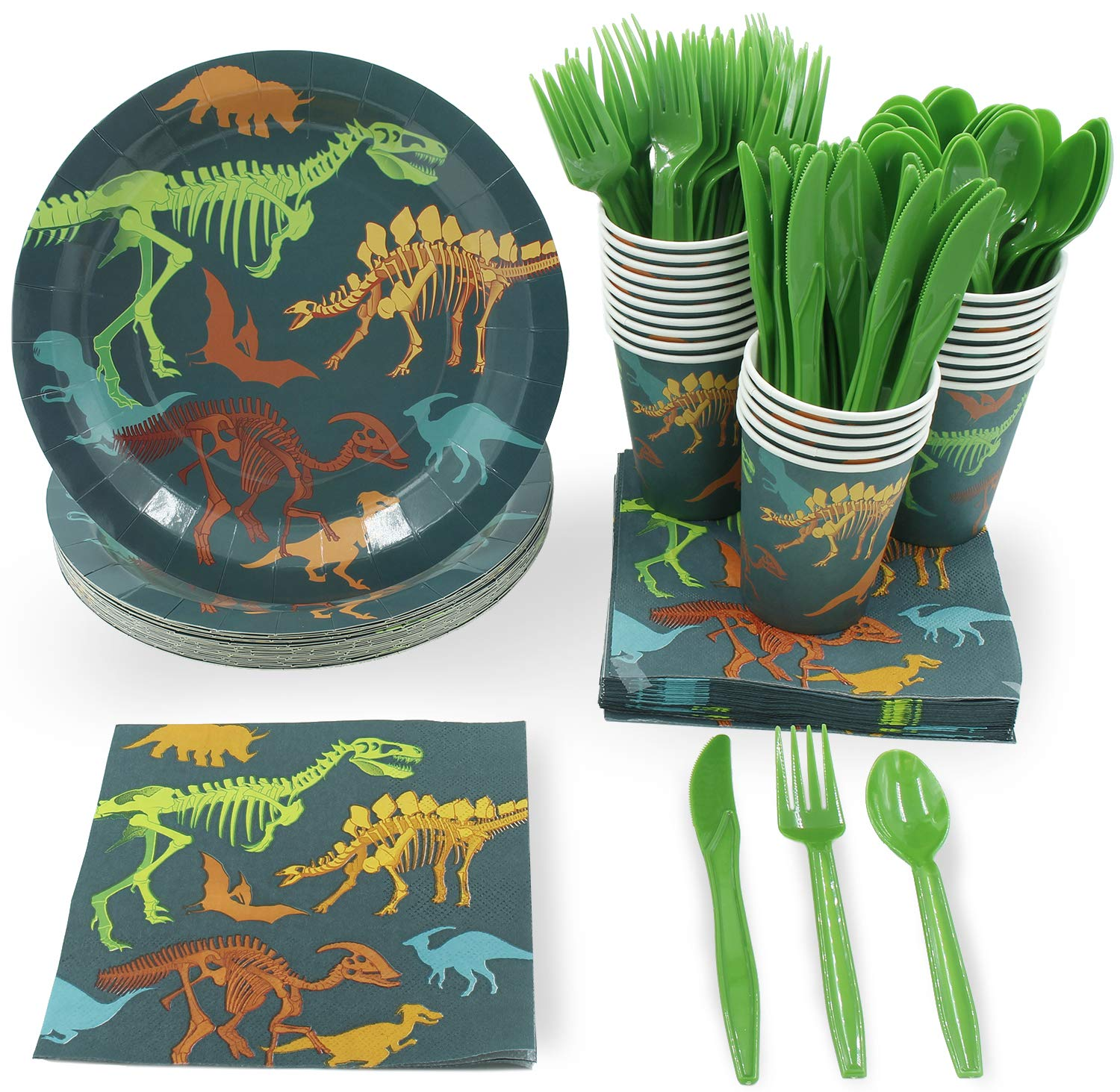 Disposable Dinnerware Set - Serves 24 - Dinosaur Themed Party Supplies for Kids Birthdays, Dino Fossil Skeleton Design, Includes Plastic Knives, Spoons, Forks, Paper Plates, Napkins, Cups by Juvale