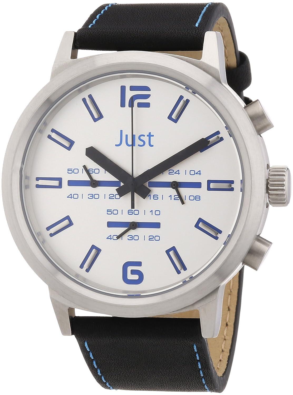 Just Watches 48-S3601-BL - Reloj analógico de cuarzo unisex, correa de cuero color negro (cronómetro)