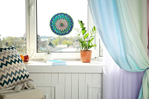 7 Inch Hand Painted Glass Door /& Window Repositionable Sticker Decal Mandala Suncatcher Glueless Static Repositionable//Removable