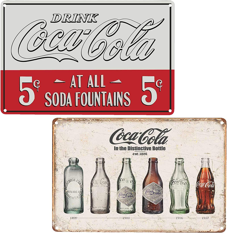 FSTIKO Vintage Coke Tin Signs, Coca-Cola Bottle Evolution & Coca-Cola 5 Cent Soda Fountain Retro Decor for Men Cave Wall Plaque Poster Cafe Bar Pub 8X12Inch 2Pcs