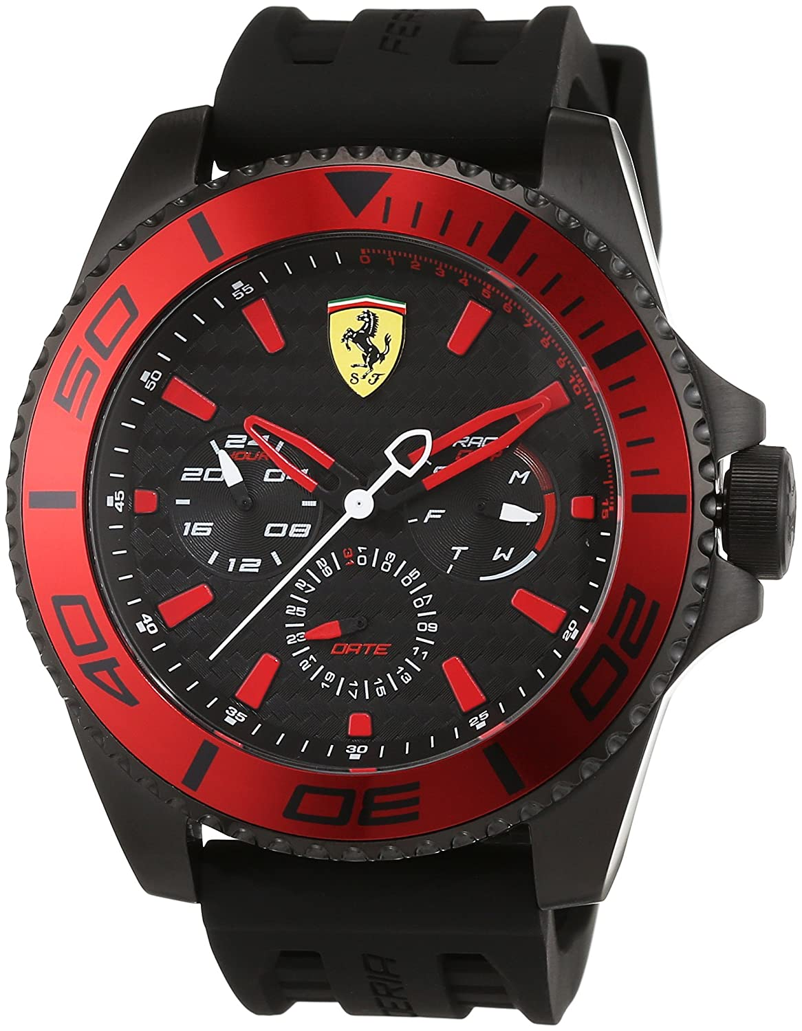 black scuderia or buy ferrari multifunction myntra watches analogue watch for men