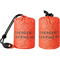 Funlove 2 PCS Emergency Sleeping Bags, Compact Ultra Lightweight Survival Stuff Sack, Weatherproof Emergency Foil…