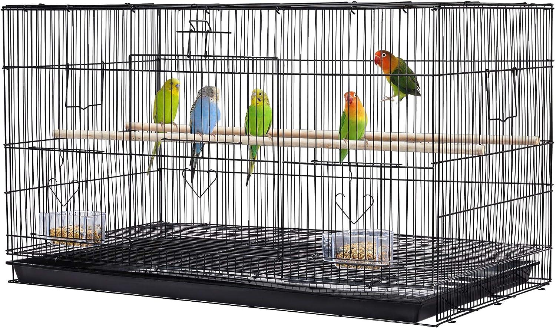 Yaheetech Jaula para Pájaros Jaula Metal para Loro con Comedero y Bandeja 76x45,5x45,5cm