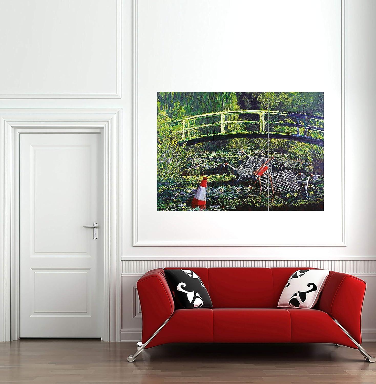 Water Lilies Banksy Painting SINGLE Leinwand Wand Kunst Bild drucken