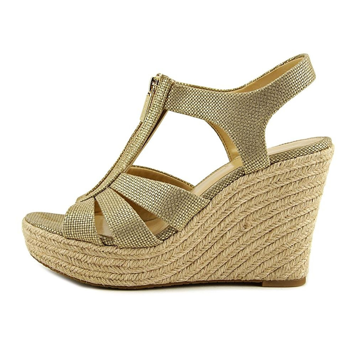 979698a3d410 Michael Kors Berkley Pale Gold Leather Wedge Sandals 41 Gold Fabric   Amazon.co.uk  Shoes   Bags