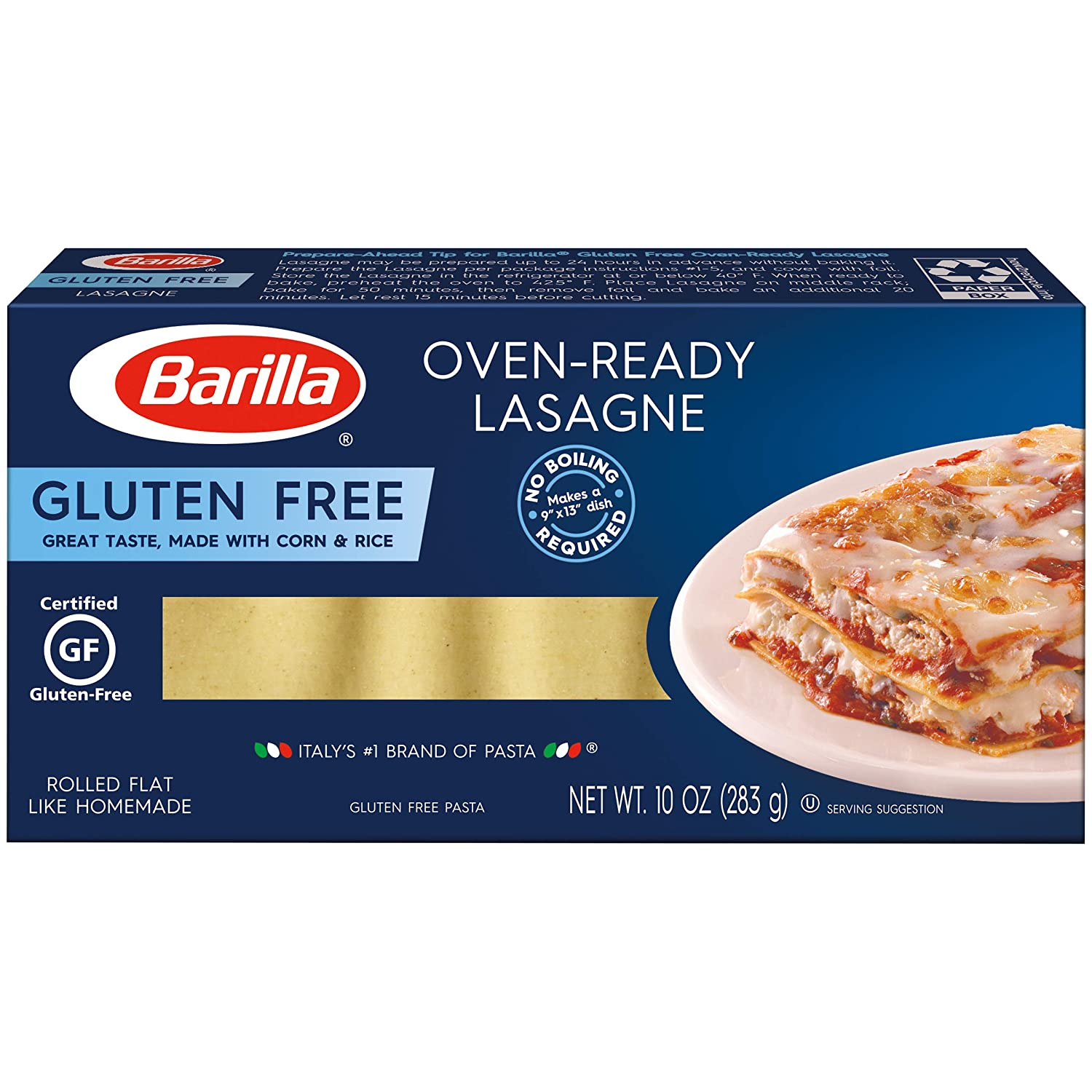 Amazon Com Barilla Gluten Free Oven Ready Lasagne 10 Ounce Pack Of 12 Non Gmo Gluten Free Pasta Made With Blend Of Corn Rice Vegan Pasta Grocery Gourmet Food