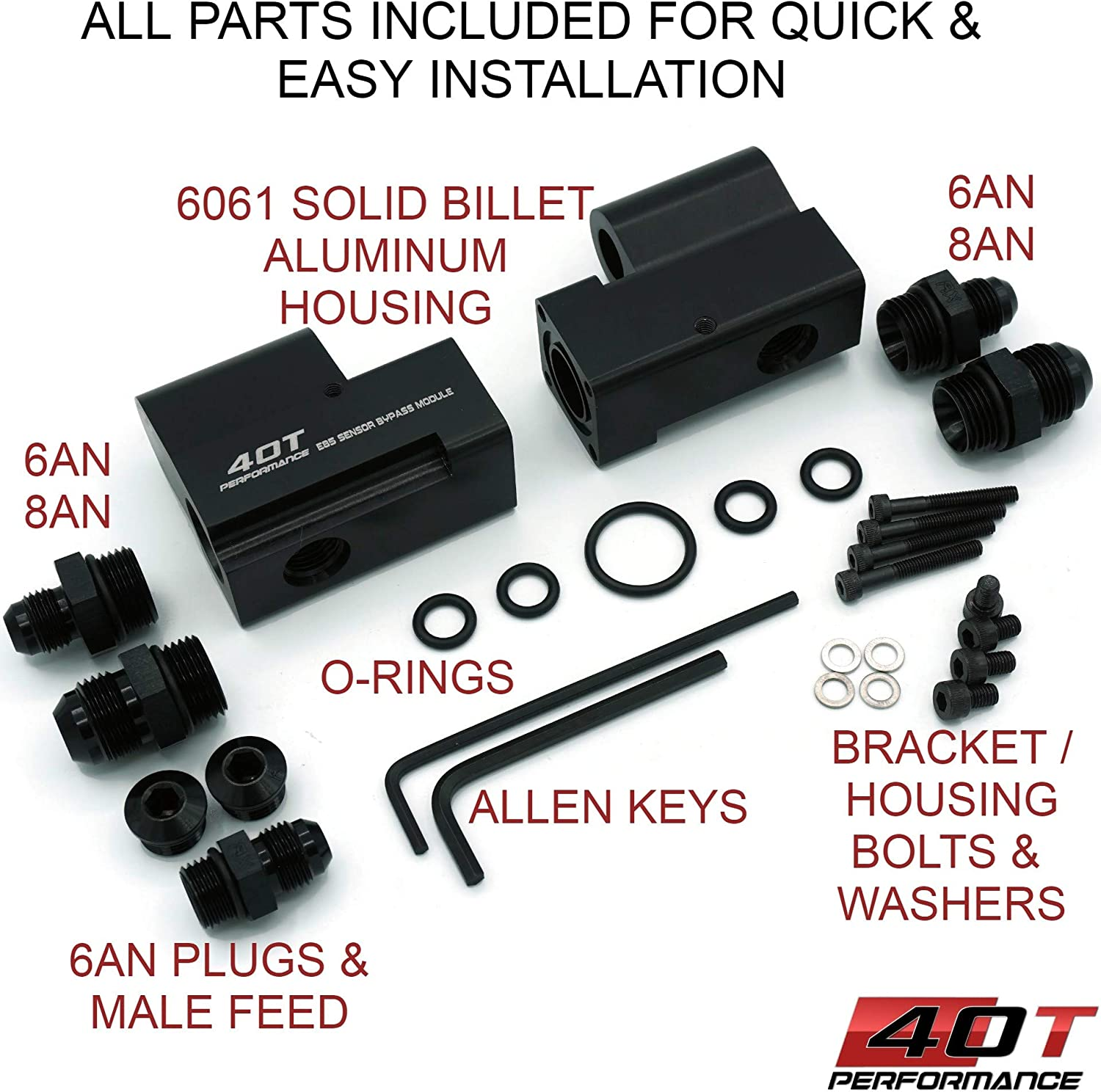 40T-Performance E85 Flex Fuel Sensor Mount//Bracket Bypass Module Solid 6061 Billet 6AN and 8AN Fittings Included Robust Mount For FULL FLOW from your E85 Flex Fuel Sensor to Fuel Rails