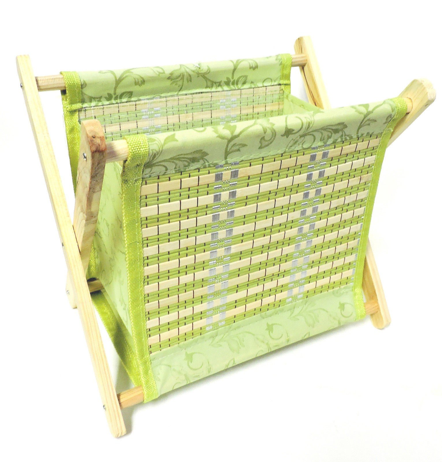 DINY Home & Style Standing Magazine Rack Wood with Bamboo Design Folding for Easy Storage