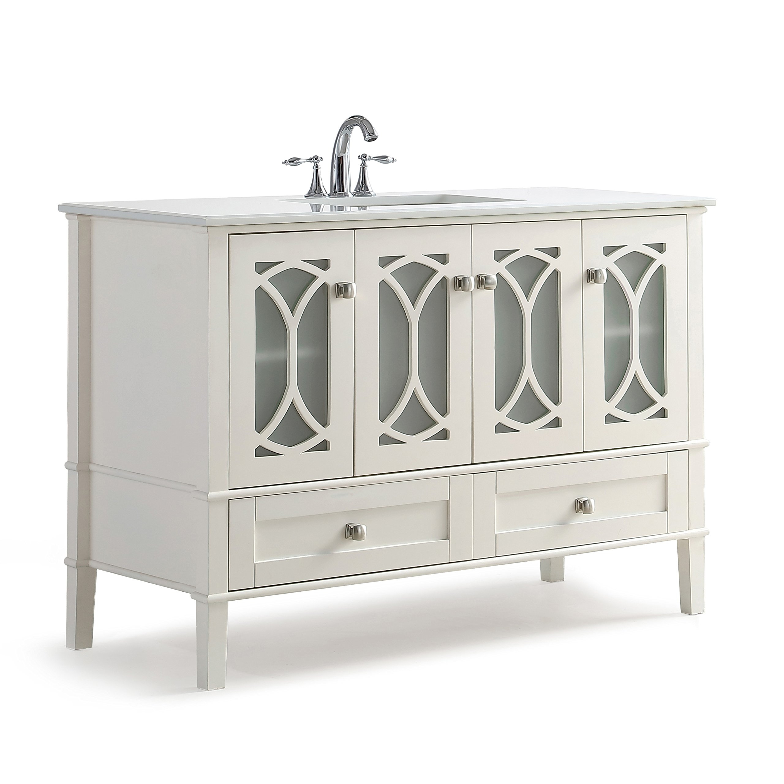 Simpli Home Paige 48 inch Bath Vanity with White Quartz Marble Top Soft White