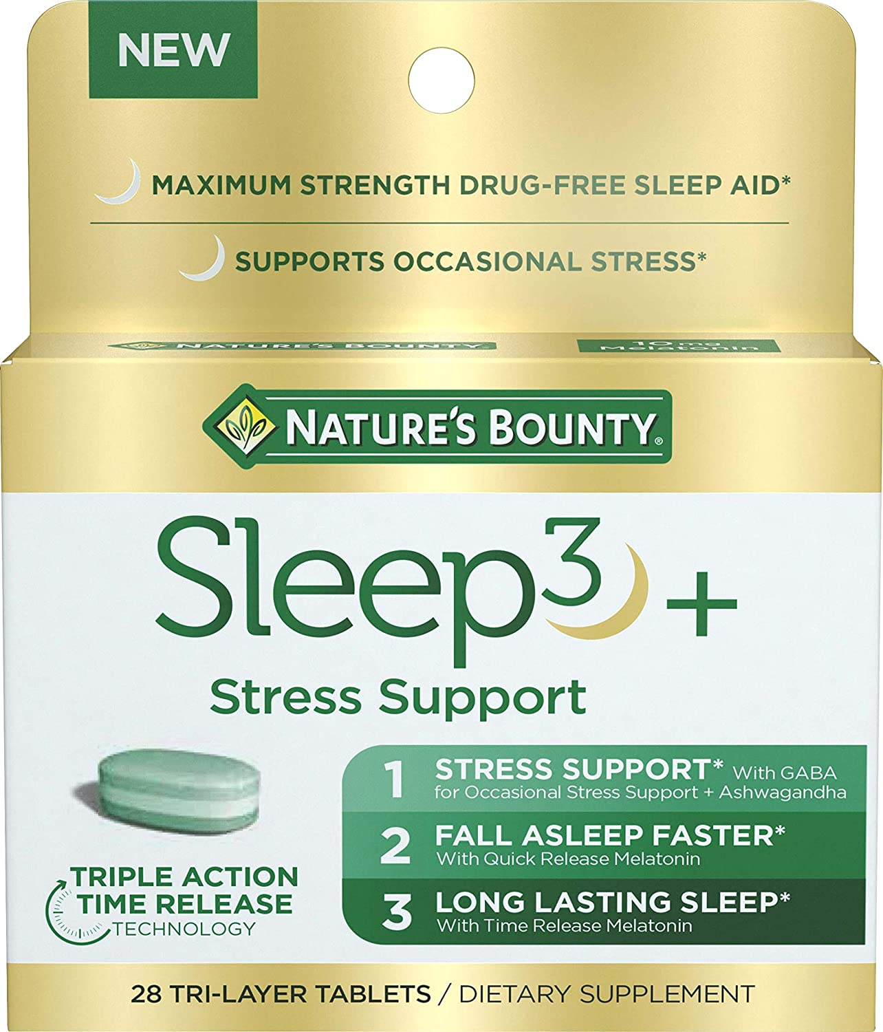 Nature's Bounty Sleep3+ Stress Support, Drug-Free Sleep Aid and Stress Relief with Melatonin and Ashwagandha, 28 Tablets