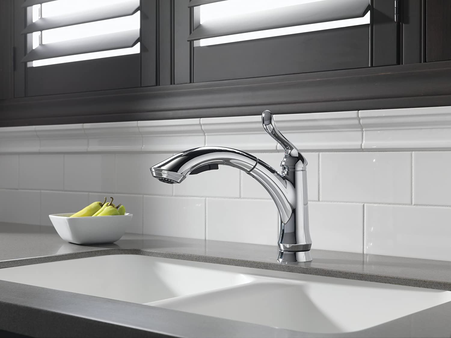 Genial Delta 4353 DST Linden Single Handle Pull Out Kitchen Faucet, Chrome   Touch  On Kitchen Sink Faucets   Amazon.com