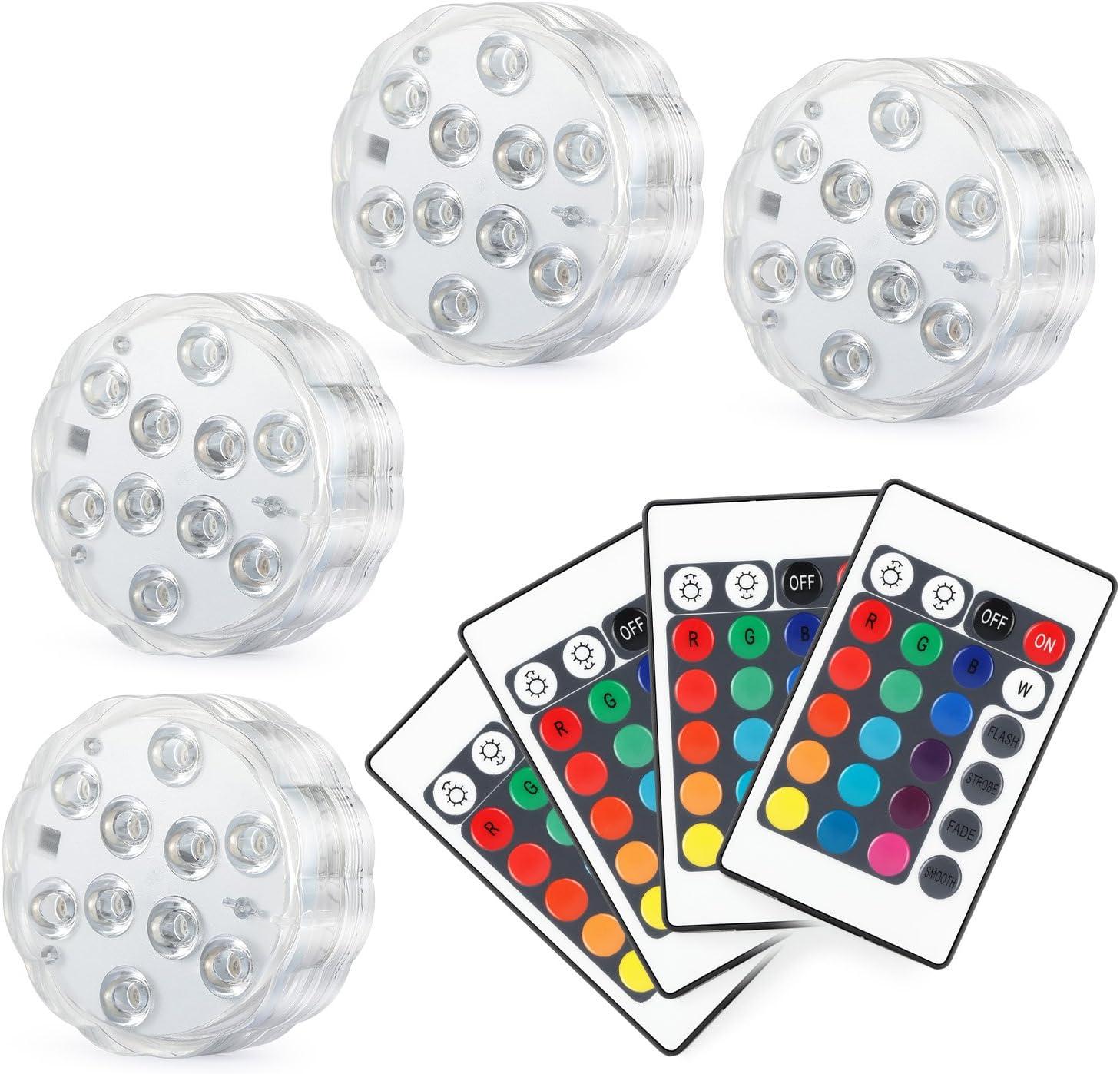 Kohree 4 x Luces Sumergibles LED Bajo El Agua Luz con mando a distancia