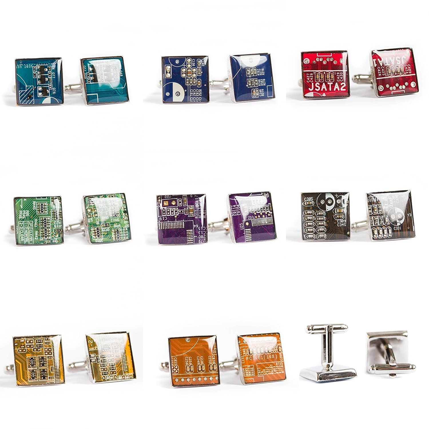 Green Circuit Board Cufflinks Recycled Gift For Computer Geek