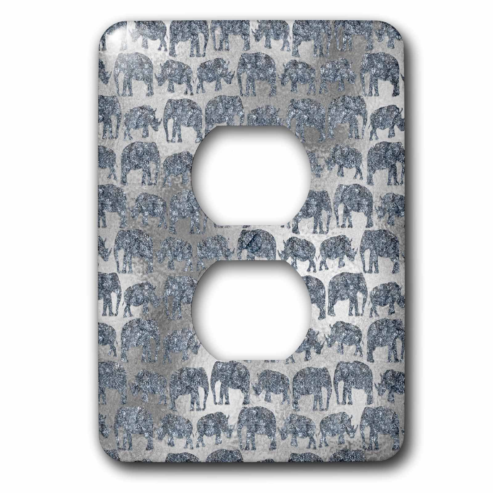 3dRose LSP_269042_6 Luxury Silver Shiny Chic Animal Elephant Africa Safari Pattern Plug Outlet Cover, Mixed