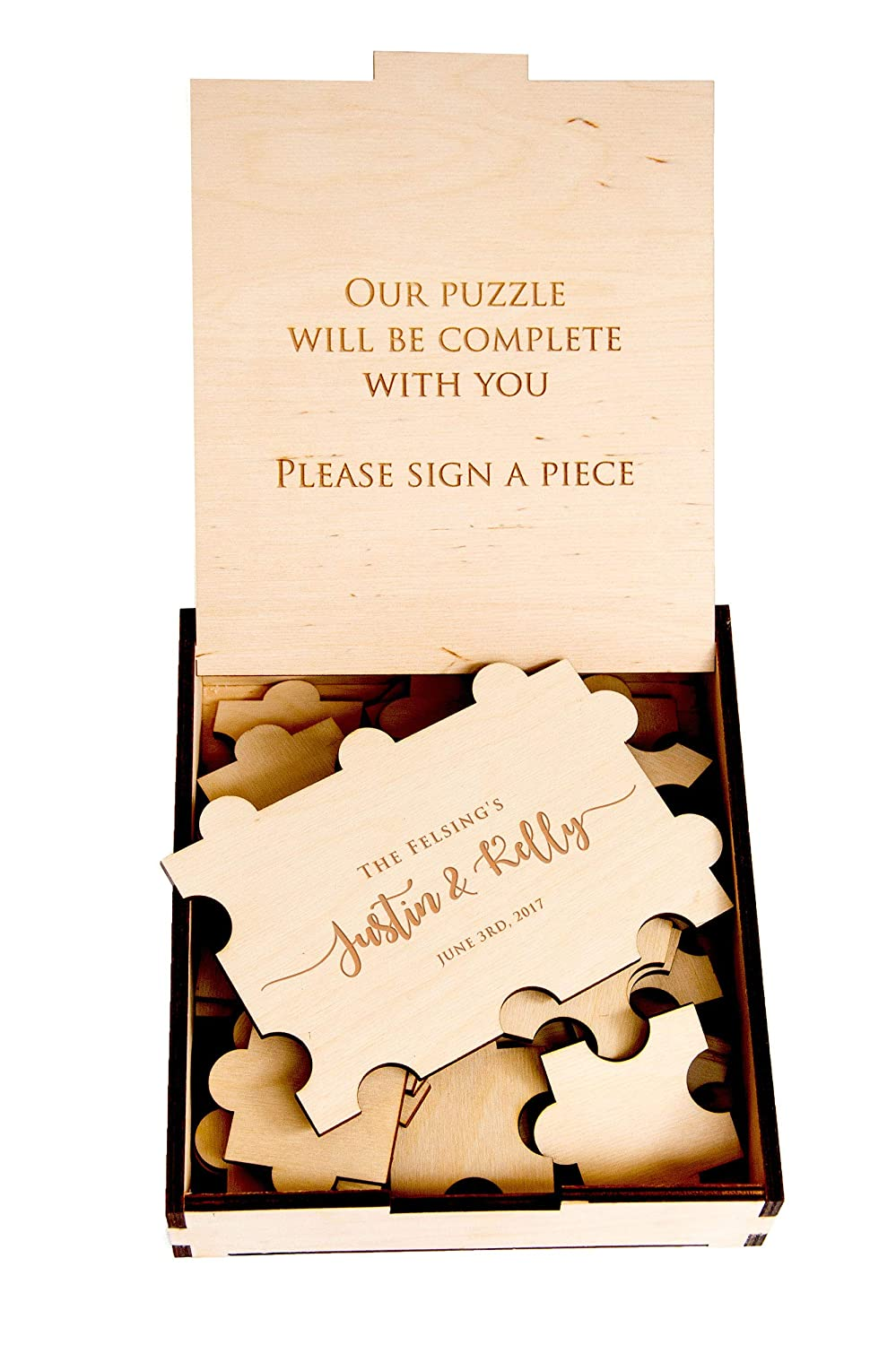 Wood Guest Book for Wedding 23pc Rustic Wedding Guest Book Puzzle Ideas Alternative Wedding Guest Book Baby Shower Guest Book