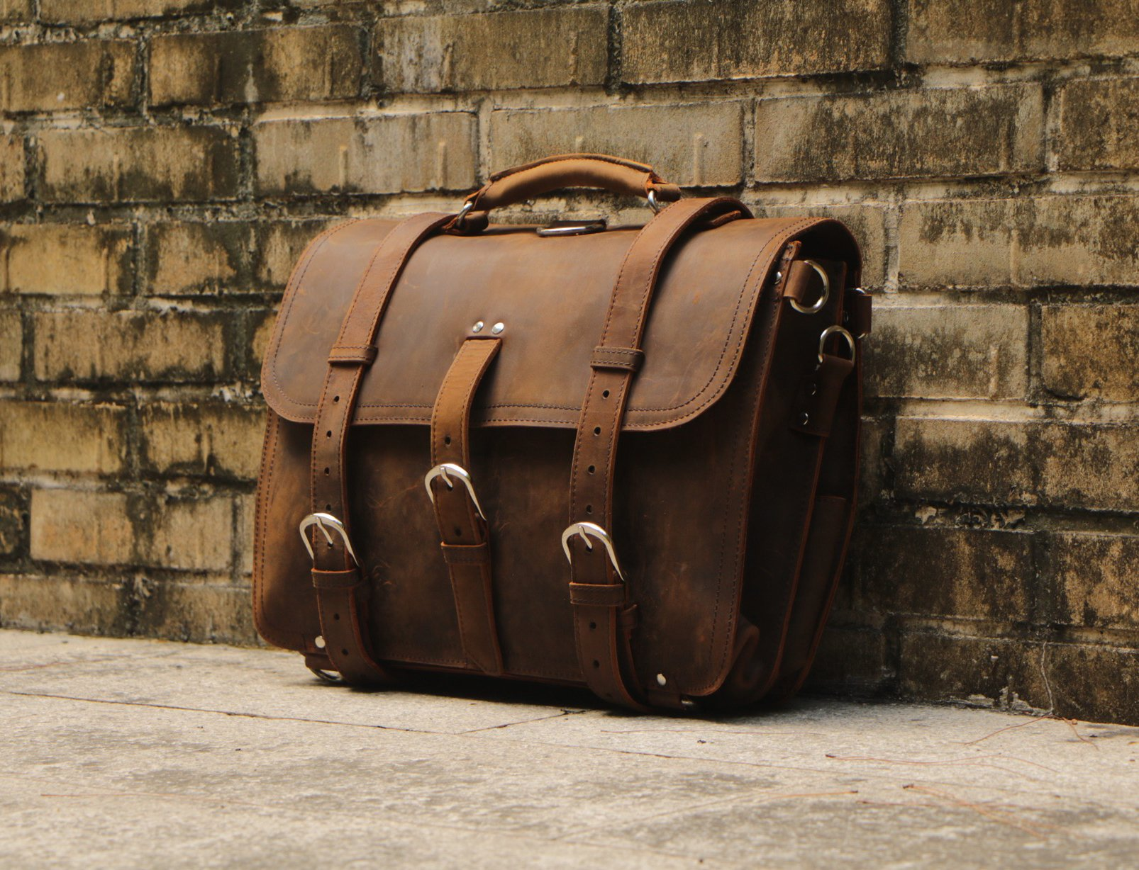 Polare Men's Top Quality Full Grain Leather Briefcase / Shoulder Bag / Messenger Bag / Satchel Fit 17'' Laptop by Polare