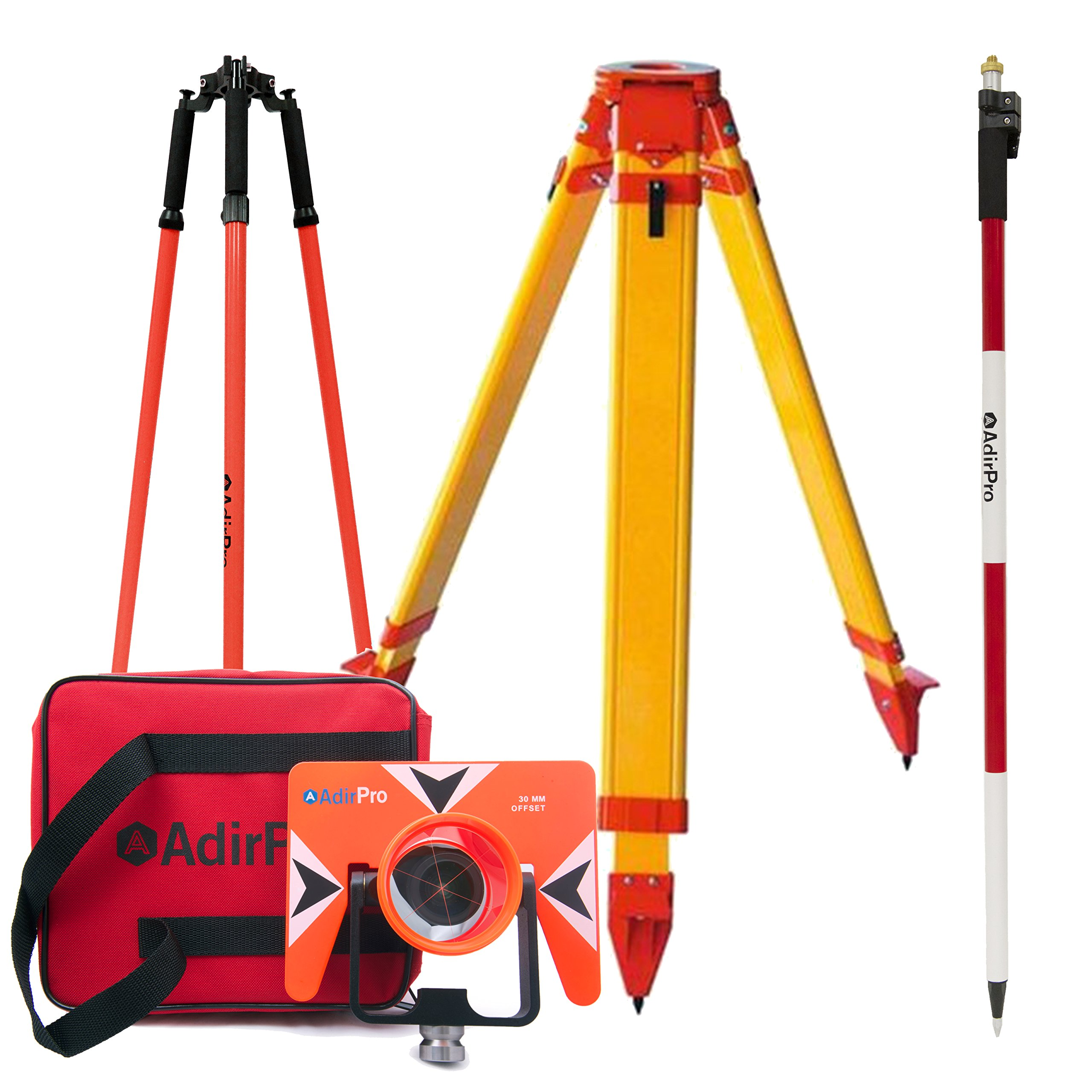 Total Station Starter Kit, Includes: All-Metal Single Tilt Prism , Aluminum 8.5' Prism Pole Quick Release Clamp, Heavy Duty Fiberglass Tripod, Prism Pole Tripod by AdirPro