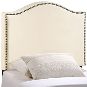 Modway Curl Linen Fabric Upholstered Twin Headboard with Nailhead Trim and Curved Shape in Ivory
