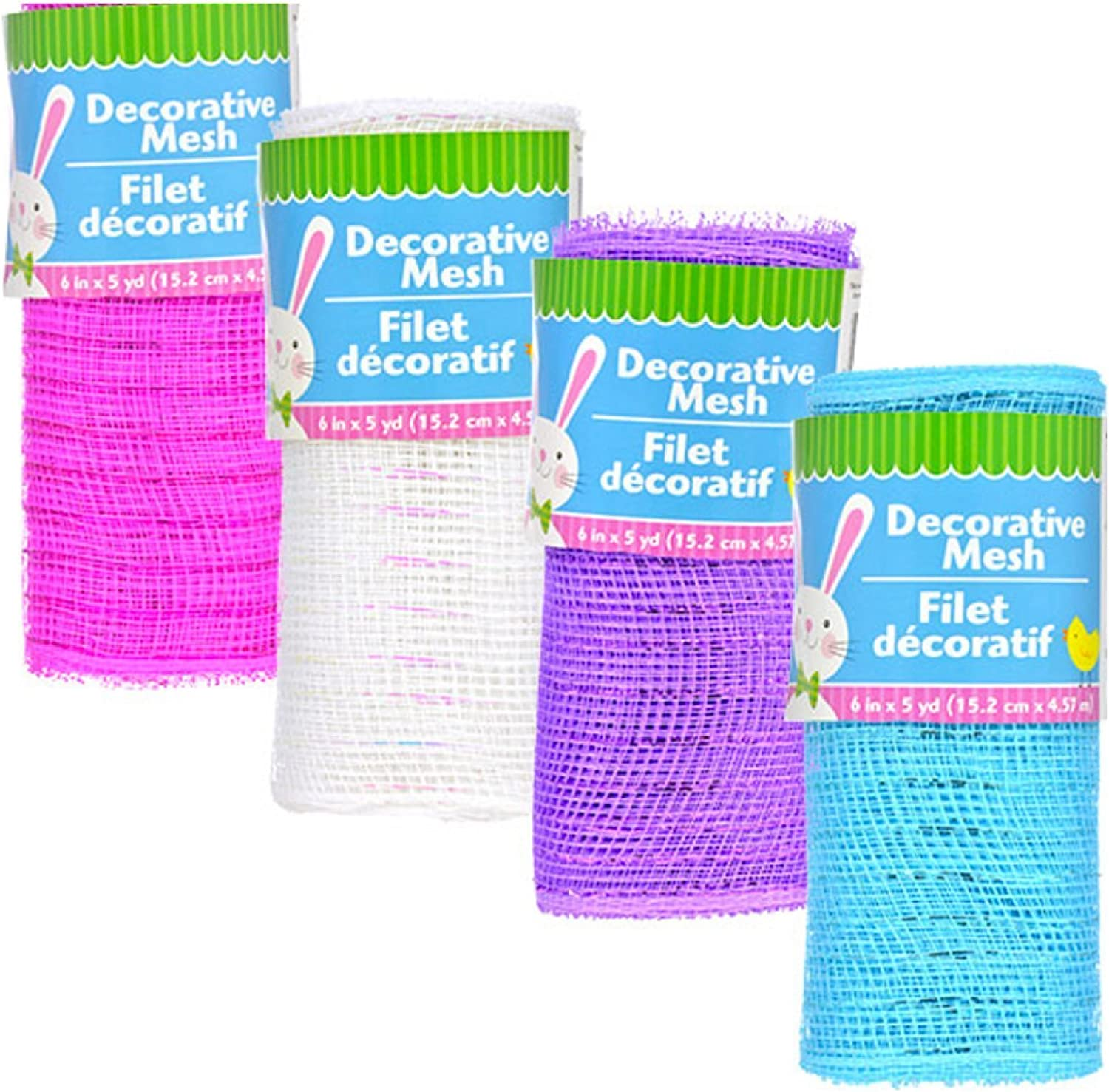 Decorative Mesh Rolls for Crafting Wreaths, Centerpieces, Displays, Table Drape and More, 5 Yards (4 Rolls, Fushshia, Purple, White, Blue)